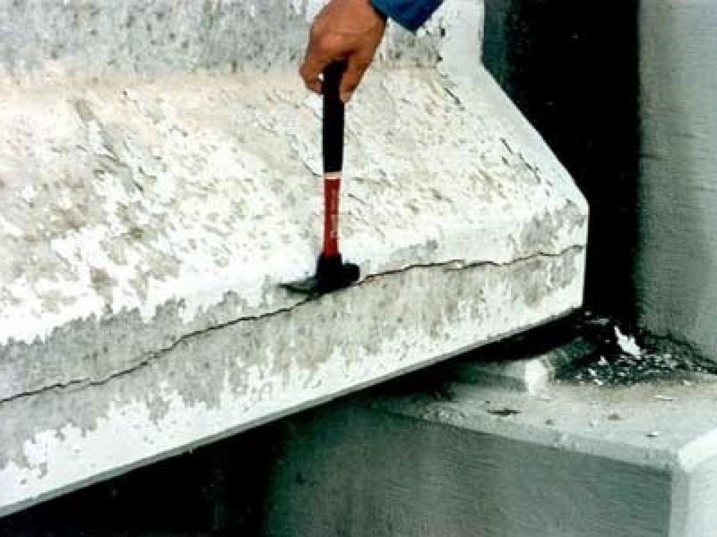Crack in modern concrete structure due to Alkali-Silica Reaction