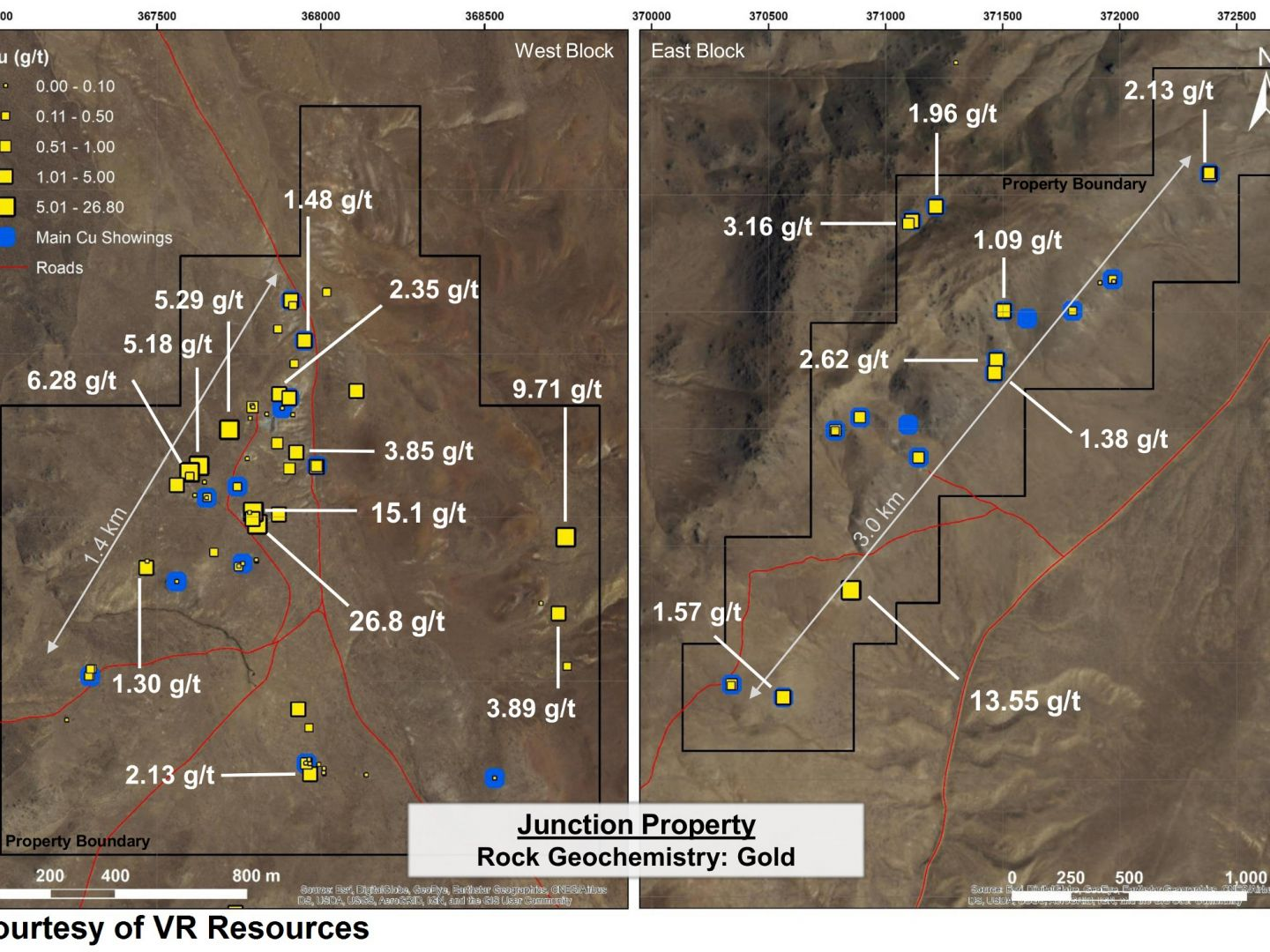 Junction Property - Rock Geochemistry: Gold
